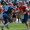 Florida sophomore Jeff Driskel  hands the ball the  Mike Gillislee   during the Gators' Orange and Blue Debut  on Saturday,  April 7, 2012 at the Ben Hill Griffin Stadium in Gainesville, Fla. / Gator Country photo by Saj Guevara