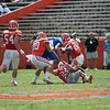 Florida junior Trey Burton makes a catch and was tackled during the Gators' Orange and Blue Debut  on Saturday,  April 7, 2012 at the Ben Hill Griffin Stadium in Gainesville, Fla. / Gator Country photo by Saj Guevara