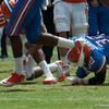 Florida sophomore Chris Johnson is tackled up during the Gators' Orange and Blue Debut  on Saturday,  April 7, 2012 at the Ben Hill Griffin Stadium in Gainesville, Fla. / Gator Country photo by Saj Guevara