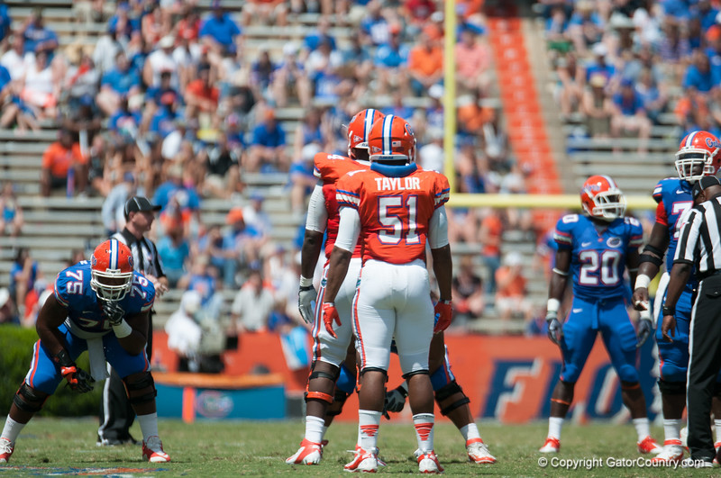 Florida red shirt sophomore Michael taylor on defense during the Gators' Orange and Blue Debut  on Saturday,  April 7, 2012 at the Ben Hill Griffin Stadium in Gainesville, Fla. / Gator Country photo by Saj Guevara