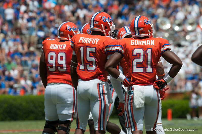 Florida sophomore Loucheiz Purifoy on defense during the Gators' Orange and Blue Debut  on Saturday,  April 7, 2012 at the Ben Hill Griffin Stadium in Gainesville, Fla. / Gator Country photo by Saj Guevara