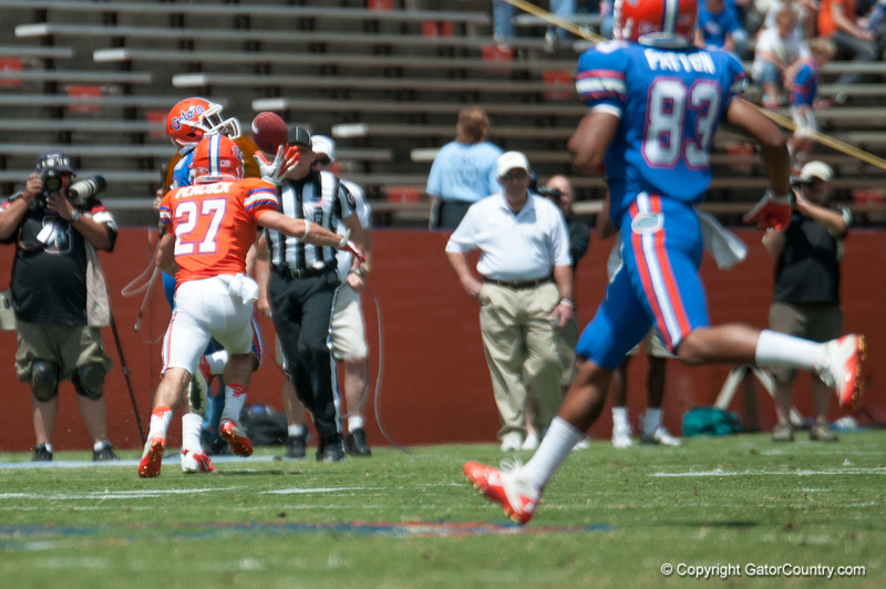 Florida freshman Latroy Pittman catches a throw during the Gators' Orange and Blue Debut  on Saturday,  April 7, 2012 at the Ben Hill Griffin Stadium in Gainesville, Fla. / Gator Country photo by Saj Guevara