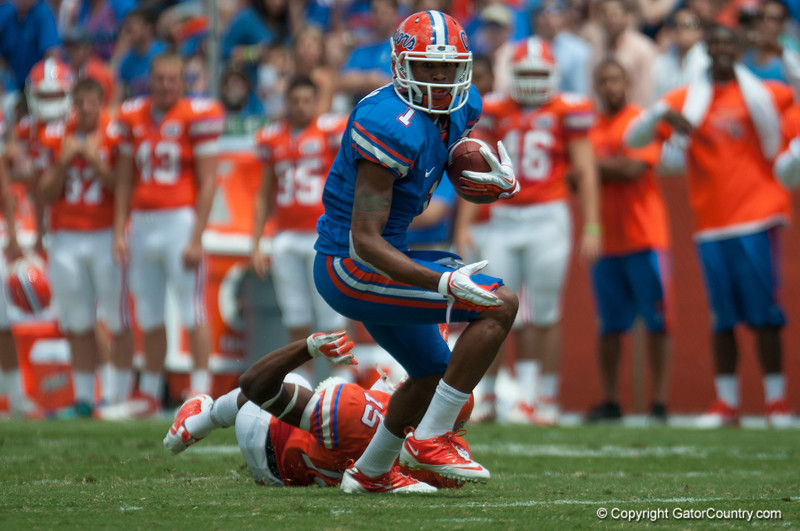 Florida red shirt sophore Quinton Dunbar  during the Gators' Orange and Blue Debut  on Saturday,  April 7, 2012 at the Ben Hill Griffin Stadium in Gainesville, Fla. / Gator Country photo by Saj Guevara