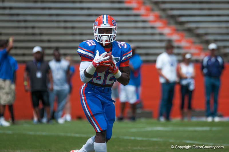 Florida sophomore Chris Johnson warming up during the Gators' Orange and Blue Debut  on Saturday,  April 7, 2012 at the Ben Hill Griffin Stadium in Gainesville, Fla. / Gator Country photo by Saj Guevara