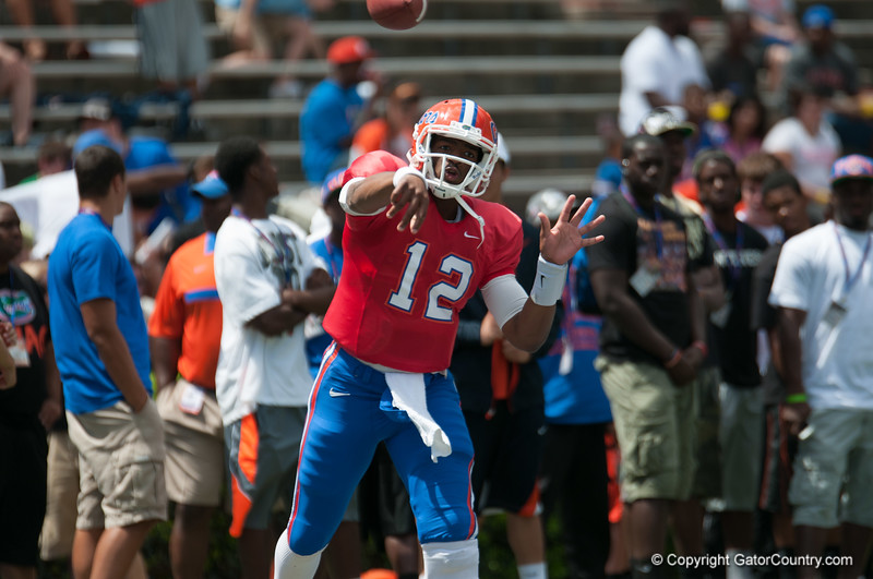 Florida sophore Jacoby Brissett warming up   during the Gators' Orange and Blue Debut  on Saturday,  April 7, 2012 at the Ben Hill Griffin Stadium in Gainesville, Fla. / Gator Country photo by Saj Guevara