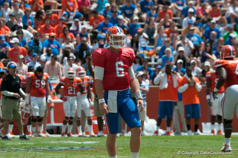 Florida sophomore Jeff Driskel    during the Gators' Orange and Blue Debut  on Saturday,  April 7, 2012 at the Ben Hill Griffin Stadium in Gainesville, Fla. / Gator Country photo by Saj Guevara