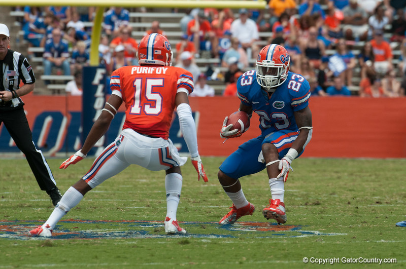Florida senior Mike Gillislee runs the ball during the Gators' Orange and Blue Debut  on Saturday,  April 7, 2012 at the Ben Hill Griffin Stadium in Gainesville, Fla. / Gator Country photo by Saj Guevara