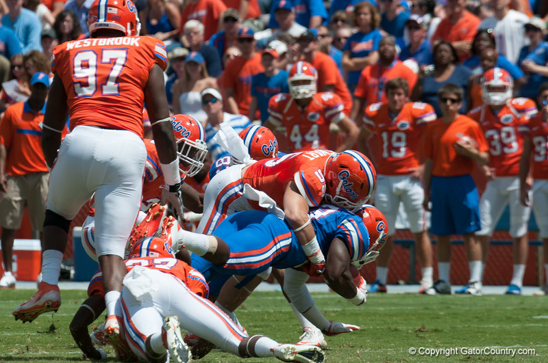 Florida sophomore Graham Stewart on defense during the Gators' Orange and Blue Debut  on Saturday,  April 7, 2012 at the Ben Hill Griffin Stadium in Gainesville, Fla. / Gator Country photo by Saj Guevara