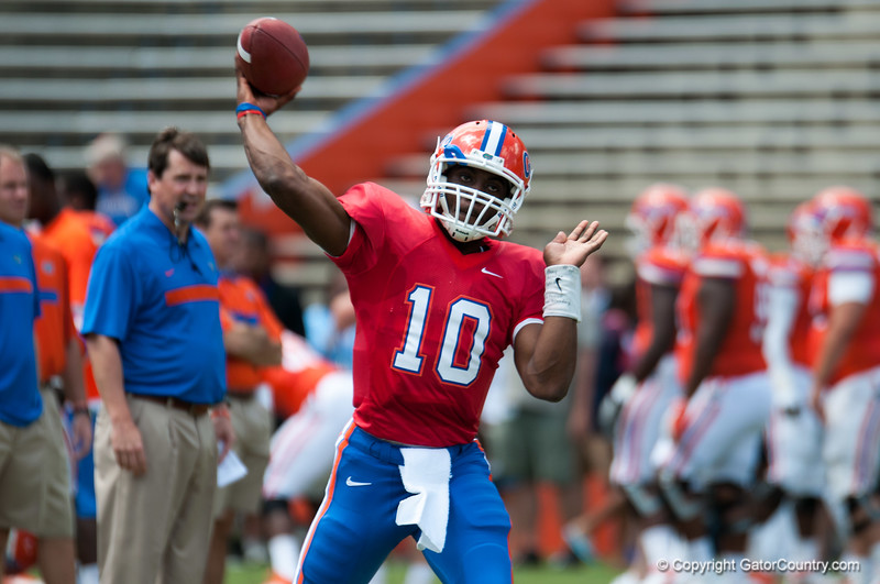 Florida red shirt sophomore Tyler Murphy warming up during the Gators' Orange and Blue Debut  on Saturday,  April 7, 2012 at the Ben Hill Griffin Stadium in Gainesville, Fla. / Gator Country photo by Saj Guevara