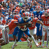 Florida sophomore Chris Johnson rushes up during the Gators' Orange and Blue Debut  on Saturday,  April 7, 2012 at the Ben Hill Griffin Stadium in Gainesville, Fla. / Gator Country photo by Saj Guevara
