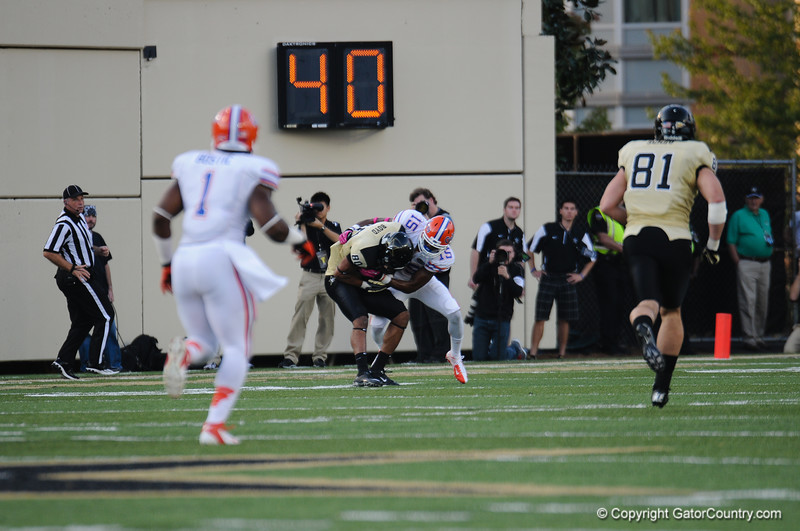 Florida  sophomore Loucheiz Purifoy during the Gators' 31-17 win against the Vanderbilt Commodores Saturday October 13, 2012 at the Vanderbilt Stadium in Nashville, TN. / Gator Country photo by Saj Guevara