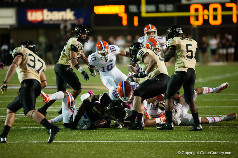 Florida  junior Darrin Kitchens during the Gators' 31-17 win against the Vanderbilt Commodores Saturday October 13, 2012 at the Vanderbilt Stadium in Nashville, TN. / Gator Country photo by Saj Guevara