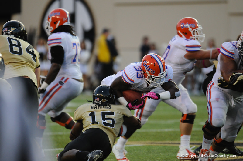 Florida redshirt sophomore Mack Brown during the Gators' 31-17 win against the Vanderbilt Commodores Saturday October 13, 2012 at the Vanderbilt Stadium in Nashville, TN. / Gator Country photo by Saj Guevara