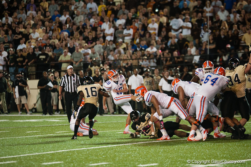 Florida redshirt senior Caleb Sturgis  during the Gators' 31-17 win against the Vanderbilt Commodores Saturday October 13, 2012 at the Vanderbilt Stadium in Nashville, TN. / Gator Country photo by Saj Guevara