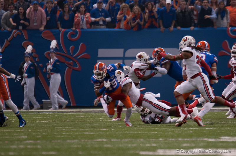 Florida  Loucheiz Purifoy   during the Gators' 33-23 loss against the Louisville Cardinals Wednesday January 2, 2013 at the Mercedes-Benz Superdome in New Orleans, LA. / Gator Country photo by Saj Guevara
