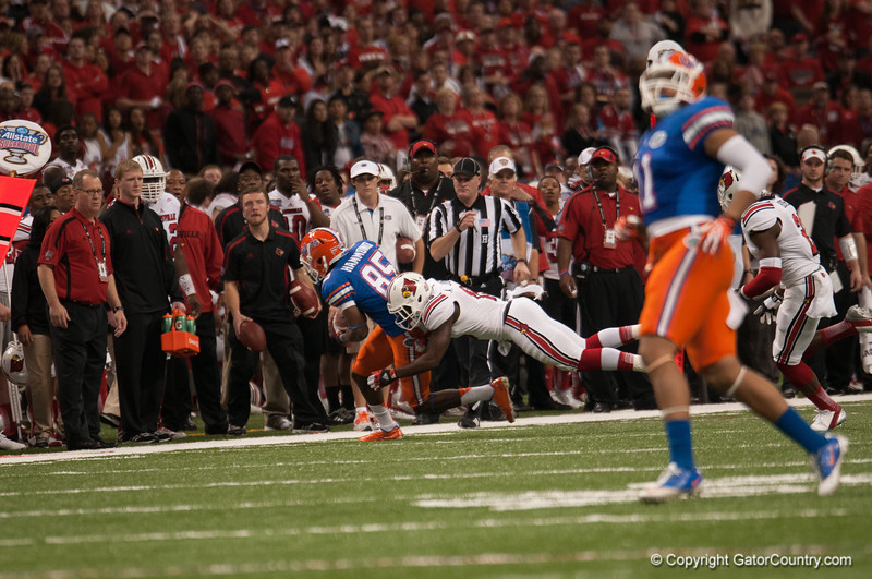 Florida  Frankie Hammond Jr   during the Gators' 33-23 loss against the Louisville Cardinals Wednesday January 2, 2013 at the Mercedes-Benz Superdome in New Orleans, LA. / Gator Country photo by Saj Guevara