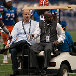 Wuerffel and Smith   during the Gators' 33-23 loss against the Louisville Cardinals Wednesday January 2, 2013 at the Mercedes-Benz Superdome in New Orleans, LA. / Gator Country photo by Saj Guevara