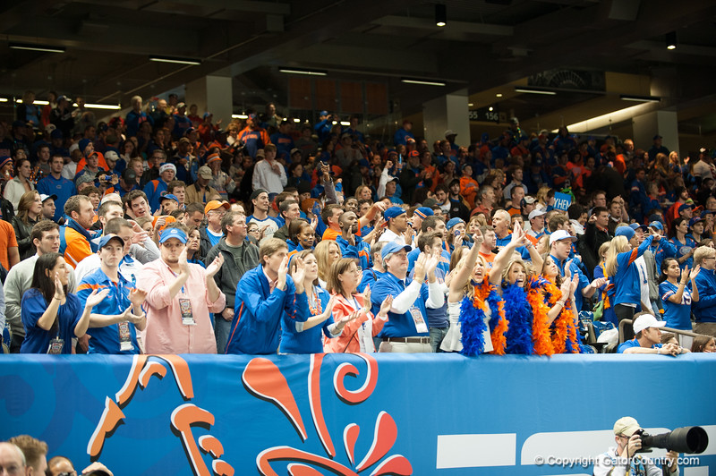 Florida  fans   during the Gators' 33-23 loss against the Louisville Cardinals Wednesday January 2, 2013 at the Mercedes-Benz Superdome in New Orleans, LA. / Gator Country photo by Saj Guevara