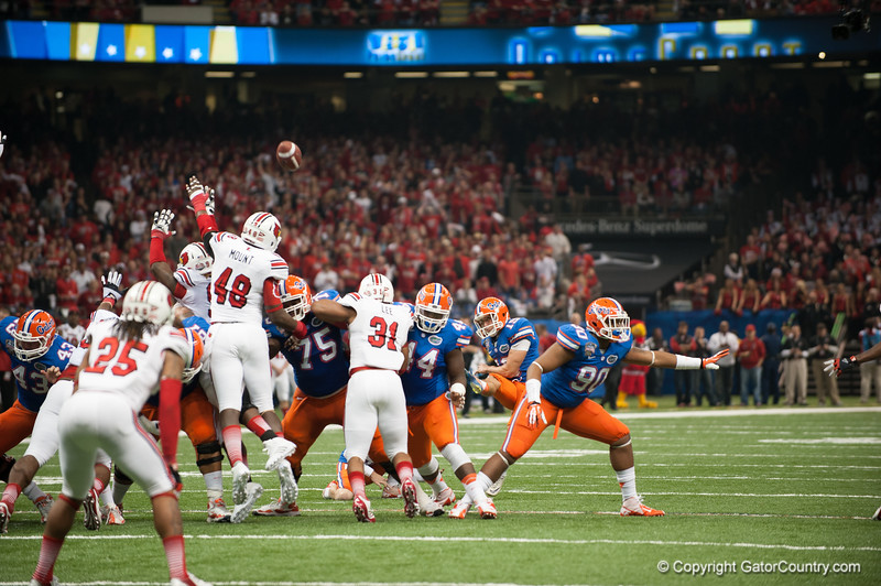 Florida    Caleb Sturgis during the Gators' 33-23 loss against the Louisville Cardinals Wednesday January 2, 2013 at the Mercedes-Benz Superdome in New Orleans, LA. / Gator Country photo by Saj Guevara