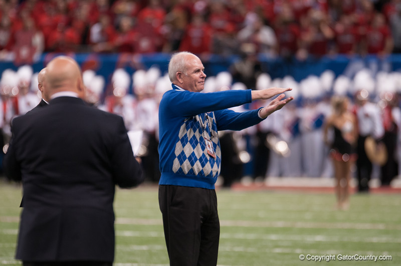 Florida   President Machen  during the Gators' 33-23 loss against the Louisville Cardinals Wednesday January 2, 2013 at the Mercedes-Benz Superdome in New Orleans, LA. / Gator Country photo by Saj Guevara