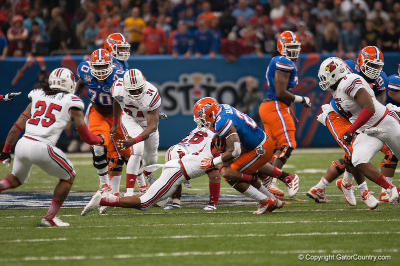 Florida  Mike Gillislee   during the Gators' 33-23 loss against the Louisville Cardinals Wednesday January 2, 2013 at the Mercedes-Benz Superdome in New Orleans, LA. / Gator Country photo by Saj Guevara