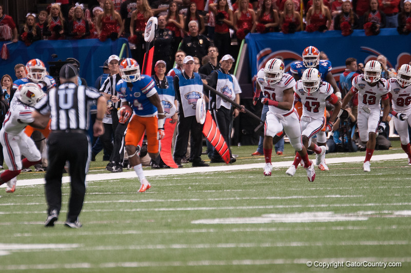 Florida  Andre Debose   during the Gators' 33-23 loss against the Louisville Cardinals Wednesday January 2, 2013 at the Mercedes-Benz Superdome in New Orleans, LA. / Gator Country photo by Saj Guevara