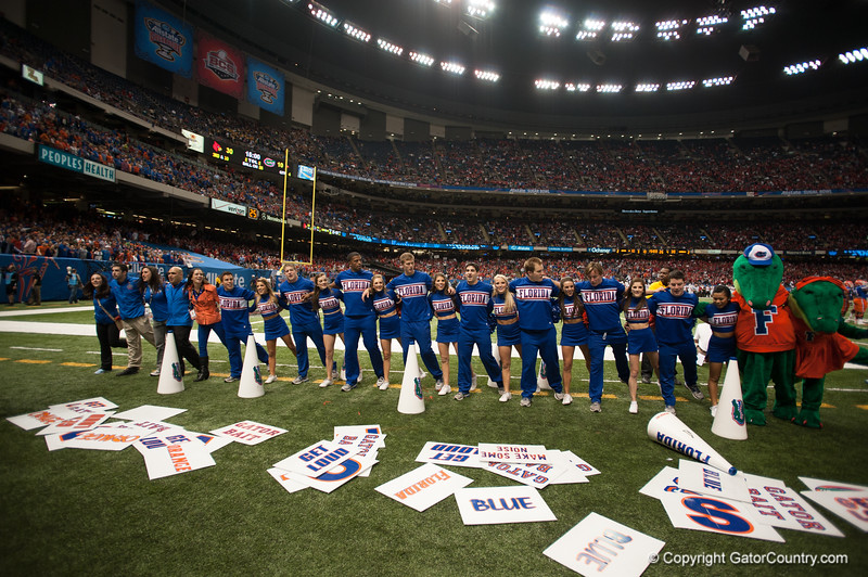 Florida  Cheerleaders   during the Gators' 33-23 loss against the Louisville Cardinals Wednesday January 2, 2013 at the Mercedes-Benz Superdome in New Orleans, LA. / Gator Country photo by Saj Guevara