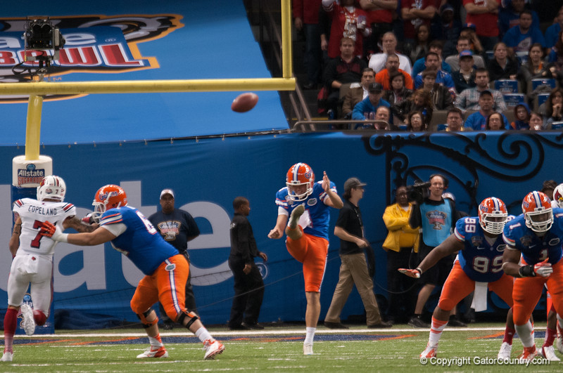 Florida Kyle Chirstie during the Gators' 33-23 loss against the Louisville Cardinals Wednesday January 2, 2013 at the Mercedes-Benz Superdome in New Orleans, LA. / Gator Country photo by Saj Guevara