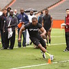 Jelani Jenkins does the 3 cone drill during UF's Pro Day on March 12, 2013 at Ben Hill Griffin Stadium in Gainesville, Florida. Representatives from all 32 NFL teams were present as current and former Gator players worked out and did drills on the field. Picture taken by Curtiss Bryant for Gatorcountry.com
