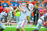 QB Jeff Driskel throws downfield.  Gators vs Miami.  9-7-13