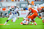 RB Matt Jones runs around the corner before fumbling.  Gators vs Miami.  9-7-13
