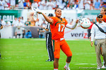 QB Stephen Morris celebrating on the sideline.  Gators vs Miami.  9-7-13.