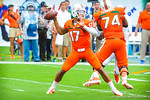 QB Stephen Morris throws to one of his receivers.  Gators vs Miami.  9-7-13.