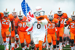 Sebastian leads out his Miami Hurricanes.  Gators vs Miami.  9-7-13