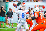 QB Jeff Driskel throws downfield.  Gators vs Miami.  9-7-13.
