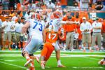 QB Jeff Driskel tjust gets the ball off.  Gators vs Miami.  9-07-13.
