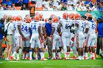Coach Muschamp talks to his Gator defense.  Gators vs Miami.  9-07-13.