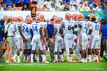Coach Muschamp talks to his Gator defense.  Gators vs Miami.  9-07-13.