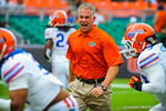 Coach Durken yelling out orders during gator warm ups.  Gators vs Miami.  9-07-13.