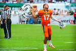 Miami QB Stephen Morris celebrates.  Gators vs Miami.  9-07-13.