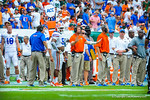 Coach Pease calls in the play.  Gators vs Miami.  9-07-13.
