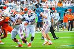 QB Jeff Driskel looks for an open receiver.  Gators vs Miami.  9-07-13.