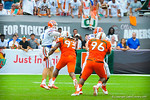QB Jeff Driskel throws the ball to the flat.  Gators vs Miami.  9-07-13.