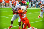 WR Trey Burton is denied the 2 point conversion.  Gators vs Miami.  9-07-13.