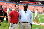 Gatorcountry writers Nick De La Torre and Richard Johnson sideline before the start of the Miami game.  Gators vs Miami.  9-07-13.