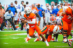 Miami QB Stephon Morris scrambling.  Gators vs Miami.  9-07-13.