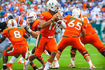 Miami QB Stephon Morris throws downfield.  Gators vs Miami.  9-07-13.