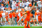 Miami QB Stephen Morris celebrates after the Miami touchdown.  Gators vs Miami.  9-07-13.