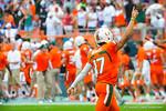 Miami QB Stephen Morris celebrates after the Miami touchdown.  Gators vs Miami.  9-07-13.