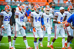 The gator secondary warming up.  Gators vs Miami.  9-07-13.